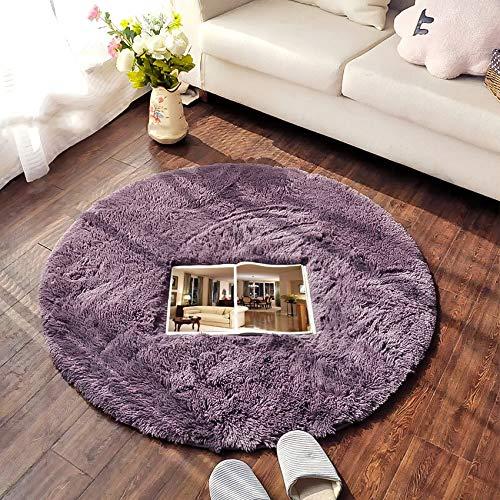 QUANHAO Alfombra de Terciopelo esponjosa súper Suave para Interiores, Linda Alfombra de Dormitorio esponjosa, Adecuada para cojín de sofá de baño (púrpura, 100x100cm)
