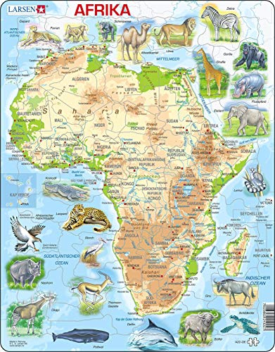 Larsen A22 Physische Karte von Afrika, Deutsch Ausgabe, Rahmenpuzzle mit 63 Teilen