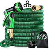 KURTVANA Expandable Garden Hose with 9 Function Nozzle,Durable Flexible Water Hose,3/4' Solid Brass Connectors,Extra Strength Fabric, Lightweight Expanding Hose (Green, 50FT)