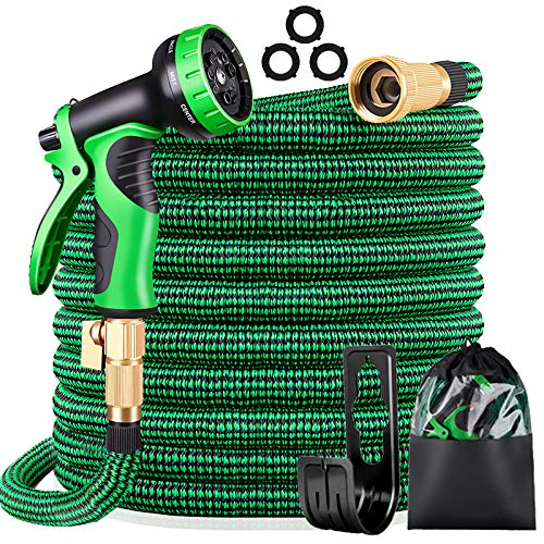 """KURTVANA Expandable Garden Hose with 9 Function Nozzle,Durable Flexible Water Hose,3/4"""" Solid Brass Connectors,Extra Strength Fabric, Lightweight Expanding Hose(25ft+5ft)"""