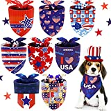 8 Pieces Patriotic Dog Bandana Independence Day Pet Bibs Scarfs American Flag Star Pet Scarfs Patriotic Neck Adjustable Pet Triangle Washable Kerchief for 4th of July Most Pets Wearing