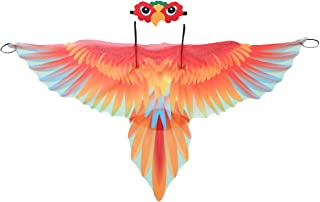 ranrann Enfant Gar/çon Fille D/éguisement Perroquet Costume Oiseau Ailes Cape Masque pour Les Yeux en Feutre Masquerade Halloween Carnaval No/ël Festival Outfit Set Multicolore