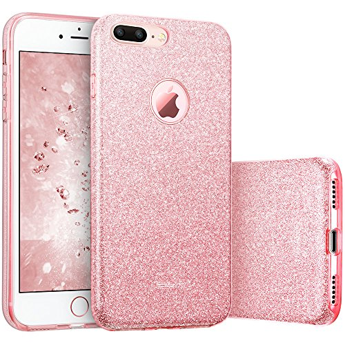 ESR Coque pour iPhone 7 Plus, Coque Silicone Paillette Strass Brillante Glitter de, Bumper Housse Etui de Protection [Anti Choc] pour Apple iPhone 7 Plus (Or Rose Pailleté)