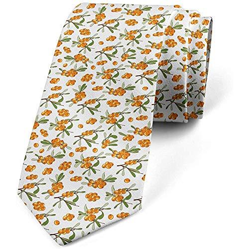 Cravatta, bacche di olivello spinoso, verde oliva arancione scuro