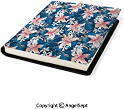 Stretchable Book Covers Online,Singapore Plumeria and Tropical Hibiscus Hawaiian Flowers Grunge Design Pink White and Dark Blue,8.7