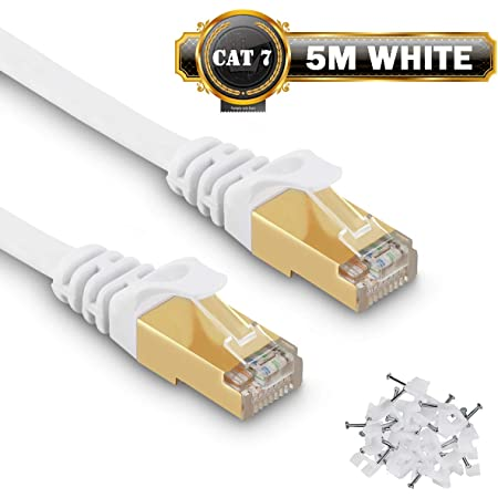 Câble Ethernet 5M Cat7 Câble réseau Plat Haut Débit Blindé RJ45 10Gbps 750MHz SFTP 8P8C Câbles de Connexion Patch pour Routeur/PC/Consoles de Jeux Vidéo/ADSL - 5 Mètres Blanc - avec des Cordon Clips
