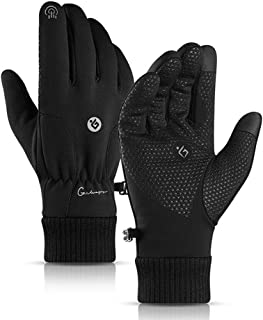 Betfandeful Waterproof Winter Motorcycle Riding Gloves Touch Screen Long Thermal Cotton for Outdoor Sports Mountaineering Skiing(Black, L)