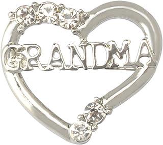 Jili Online - Broche en forma de corazón con cristales de esmeralda y diamantes de imitación