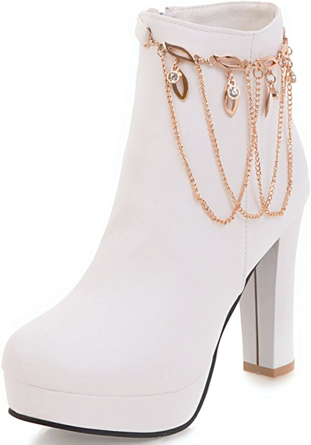 DoraTasia Women's Sexy Pearls Metal Pendant Platform Pointed Toe Mid Chunky Heel Ankle Boots