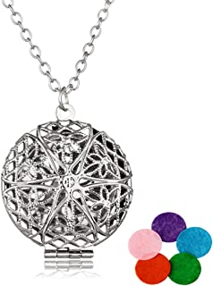 HOUSWEETY Aromatherapy Essential Oil Diffuser Necklace - Locket Pendant,5 Colorful Pads
