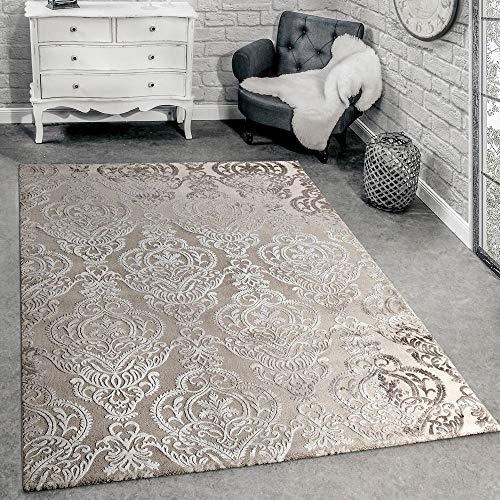 Paco Home Designer Teppich Moderne Orient Muster 3D Wohnzimmerteppich Beige Creme, Grösse:160x230...