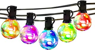 25Ft Multicolor Outdoor String Light - G40 Led Patio Lights String for Backyard Or Party,Vintage Edison Light, Waterproof, Dimmable,25 Bulbs(5 Colors)