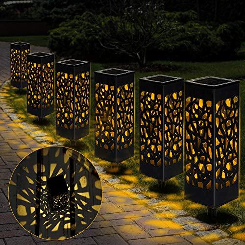 Nasharia Solarleuchte Garten, 6 Stück Solargarten Weg Beleuchtet im Freien, Solarbetriebene LED Garten Bahn Lichter für Dekorative Landschaftsbeleuchtungs Fahrstraßen Sicherheits Lichter Patio Rasen