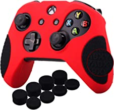 YoRHa Thickened Rubber Silicone Cover Skin Case 3D Letters Massage Grip for Xbox One S/X Controller x 1(Red&black) With PRO Thumb Grips x 8