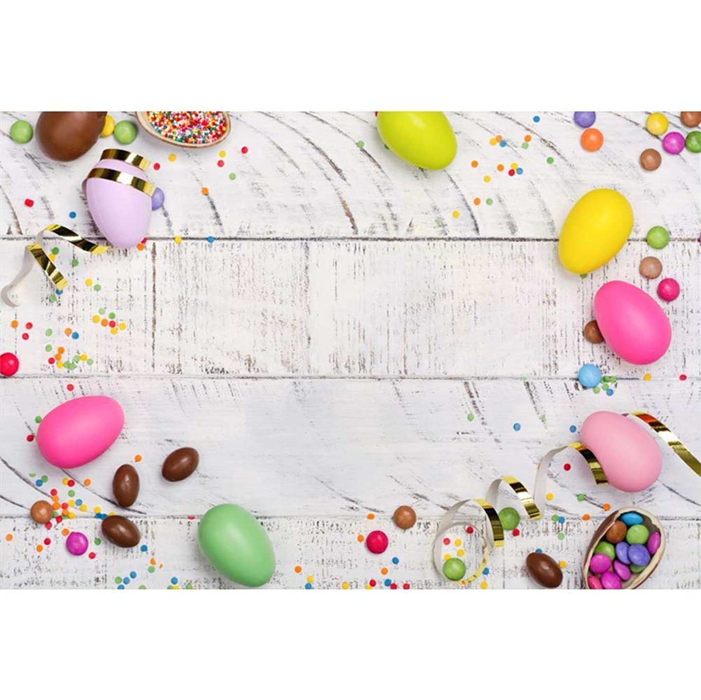 SZZWY Vinyl Easter Day Photography Backdrop 8x6.5ft Colorful Easter Eggs Candies Golden Streamer Flat-Lay Whitish Wood Plank Background Children Adults Festival Portraits Shoot Greeting Card