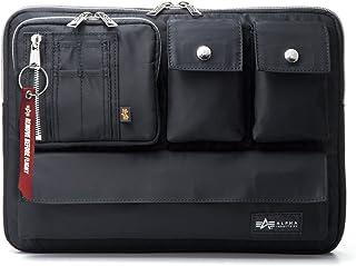 サンワダイレクト ノートパソコンケース 13.3インチ A4対応 撥水加工 多ポケット 取っ手付き [ALPHA INDUSTRIES] ブラック 200-IN048BK