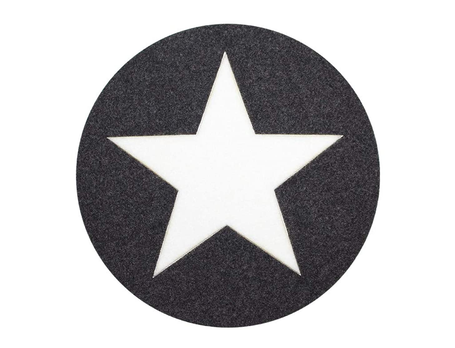 Fabric Circle with Star appliqué Grey/White for Ironing.