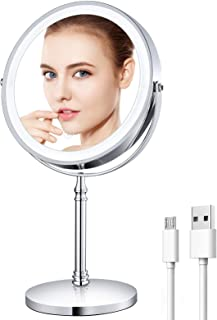 Rechargeable 8'' Lighted Makeup Mirror, 10X Magnifying Vanity Mirror with LED Lights,...