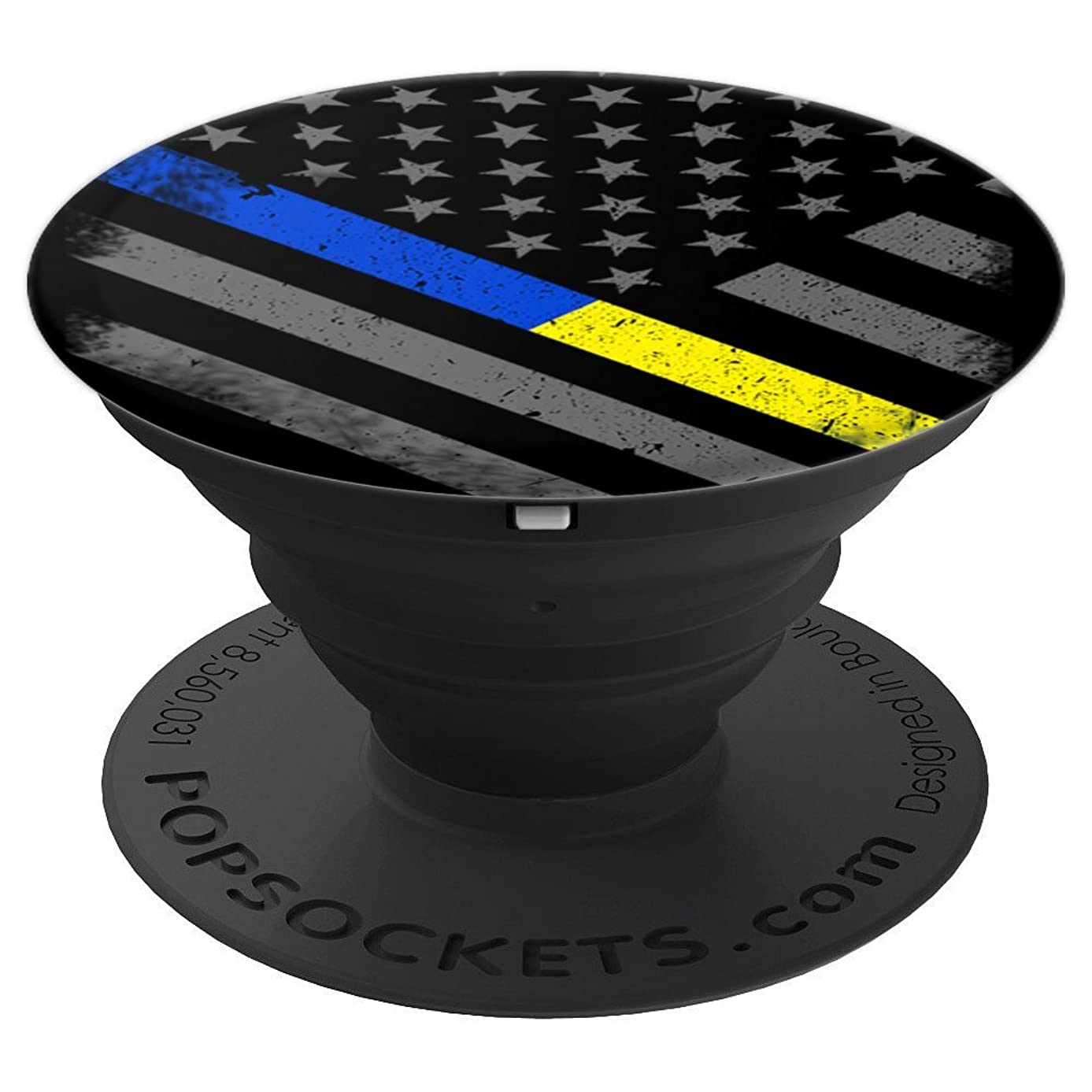 Thin Blue Gold Line Flag Police Dispatcher - PopSockets Grip and Stand for Phones and Tablets