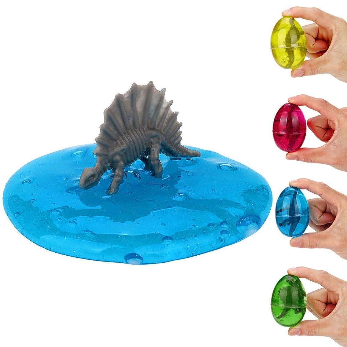 キルス嬉しいですヤギSWZY 水晶粘土 スライム 恐竜の卵パテ、子供のための卵粘液クリスタルクレイ玩具香りストレスリリーフ玩具スラッジ玩具 無毒 4個入り(4色)