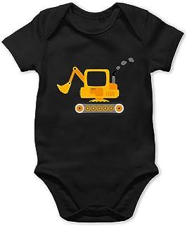 Shirtracer Fahrzeuge Baby - Bagger - Baby Body Kurzarm für Jungen und Mädchen