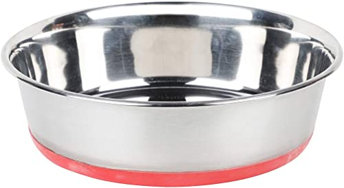 NAAZ Export Quality with Silicon Bonded Rubber Printed (Bone and Paw) Base Stainless Steel Food Bowl for Dogs and Cat...