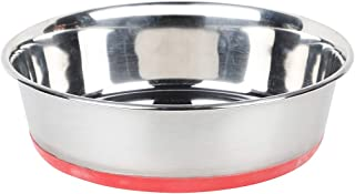 NAAZ Export Quality with Silicon Bonded Rubber Printed (Bone and Paw) Base Stainless Steel Food Bowl for Dogs and Cats ( Red)