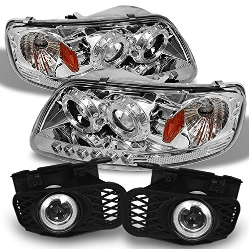For 99-02 Ford F150 Expedition Halo Projector LED Headlights + Halo Projector Fog Lights w/switch & bulb