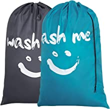 Chrislley 2 Pack Extra Large Travel Laundry Bag Rip-Stop Nylon Dirty Clothes Bags with Drawstring Closure Machine Washable Bags Wash Me (Blue and Grey)