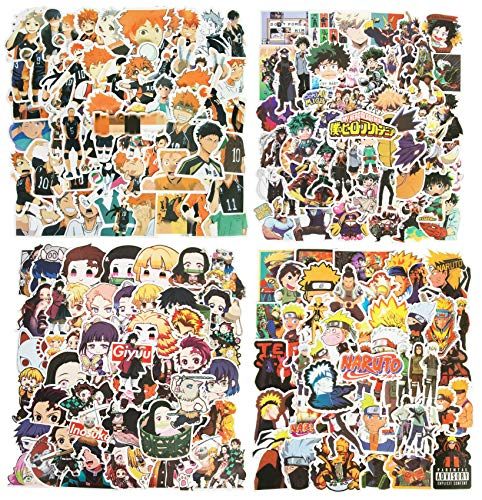 Brifay 200Pcs Mixed Anime Stickers, Waterproof Vinyl Laptop Mha Stickers for Teens Skateboards Water Bottles(Hunter X Hunter Stickers Naruto Stickers My Hero Academia Stickers)