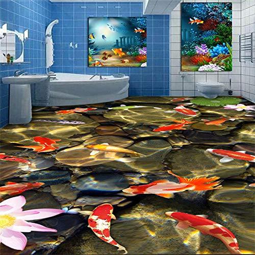Aangepaste niet-geweven behang 3D karper Lotus kiezelsteen badkamer keuken vloer tegel achtergrond schilderij 30 x 300 cm.