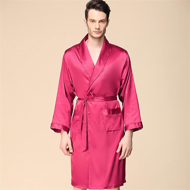 XJYWJ Men's New York Mall Silk Robe shop Long Oversized Sleepwear Bathrobe Sleeve S