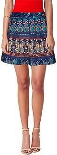 Indian Dresses Store Sttoffa Women's Cotton Animal Print Wrap Around Short Mini Skirt (NTBW15-0064, Blue, Free Size)