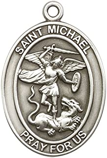 Antique Silver Tone St. Michael the Archangel Keychain