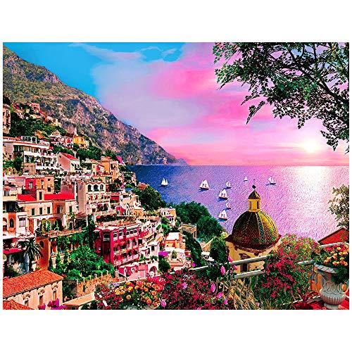 HUADADA Puzzle 1000 Teile,Puzzle für Erwachsene,Impossible Puzzle Dreamy Positano Italien,Geschicklichkeitsspiel für die ganze Familie,Erwachsenenpuzzle ab 14 Jahren.