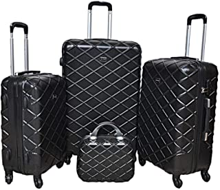 New Travel Hardside spinner luggage Set of 4 pieces with 3 digit number Lock -Black