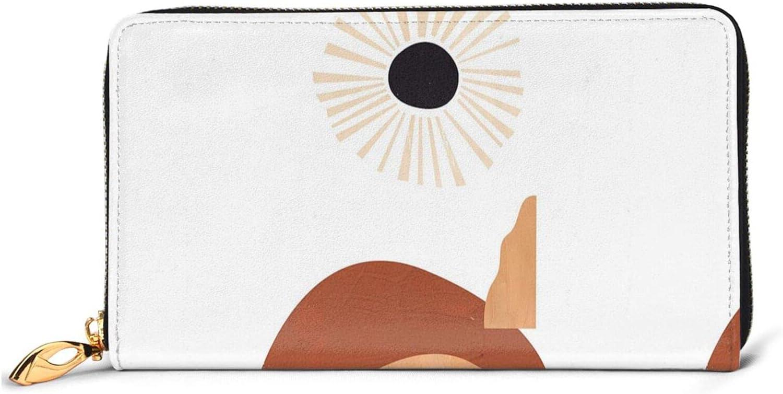 unisex Abstract Geometric Sunset Leather Wallet Zip San Jose Mall P Long Women Around