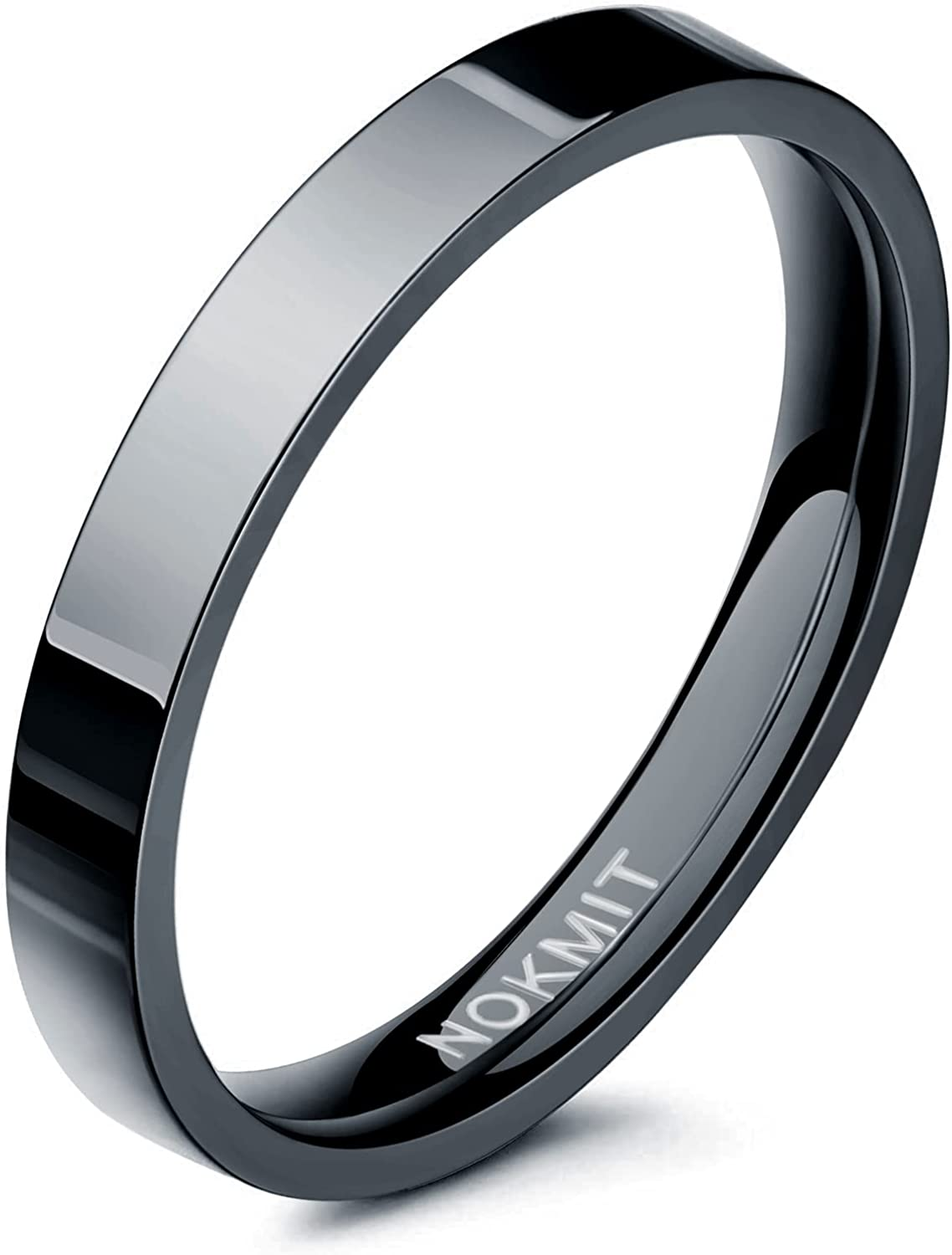 NOKMIT 3mm Wedding Band 14K Gold-Filled Rings for Women Men Stackable Stacking Rings Pointer Finger Ring Plain Dome Silver/Black Comfort Fit Size 5 to 10