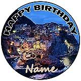 AK Giftshop Decoración para tarta de cumpleaños de Costa personalizada, redonda, 20 cm, cualquier edad y nombre
