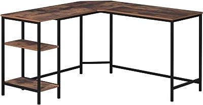 Homfa Computertisch Eckschreibtisch L-f/örmiger Schreibtisch PC-Tisch Gaming Tisch Ecktisch Arbeitstisch B/ürotisch Holz Metall Schwarz 158x120x72cm