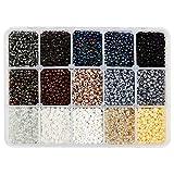 NBEADS Cerca de 6750 cuentas de semilla de cristal, cuentas opacas de 3 mm redondas, cuentas de poni, mini espaciador, cuentas sueltas para hacer manualidades, pulseras, collares y joyas