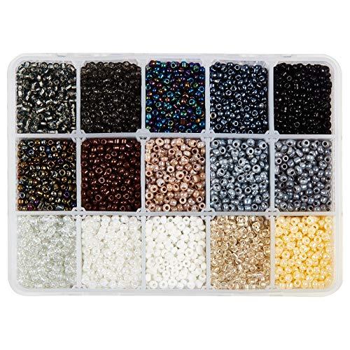 Nbeads circa 6750pz perline di semi perline di vetro opache, perline rotonde da 3 mm, mini distanziatori per fai da te fai da te, bracciali, collane, gioielli