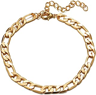 SHANZEH 18K Gold Plated Flat Marina Link Anklet for Women and Teen Girls. Adjustable Size Ankle Bracelets Hebe 19