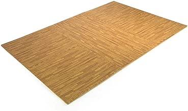 9TRADING 24 Sq Ft Interlocking EVA Foam Floor Mat Puzzle Tiles Wood Grain Gym Exercise