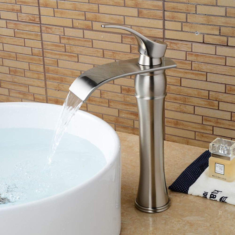 Xiaofengliustore Wasserhahn:Waschbecken Wasserhahn - Wasserfall Gebürsteter Nickel Becken Einhand Ein Loch,Wei