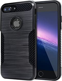 BECIKOO Case for iPhone 7 Plus Case Dual Layer Hard PC Soft TPU Shockproof iPhone 8 Plus Case Carbon Fiber Grip Non-Slip Texture Design Protective Cover for Apple iPhone 7 Plus/8 Plus,Black