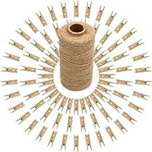 100 pcs Pinzas Pequeñas para Fotos 3,5 cm Mini Pinzas de Madera Decorativas con Cuerda de Yute para Fotos Decoración Artesanía Bricolaje
