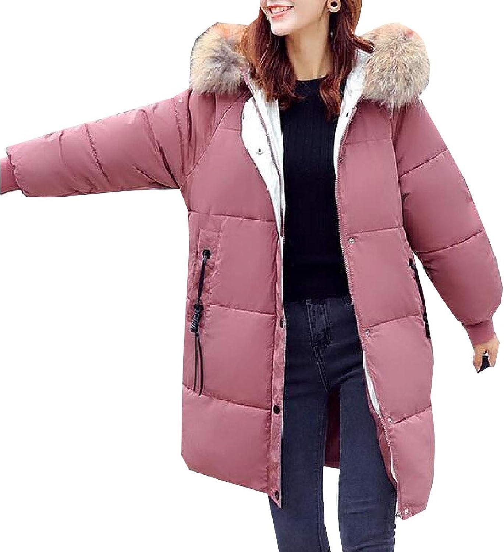 Esast Women LooseJackets Bread Cotton Linen Pocket Fur Collar Hood Jacket