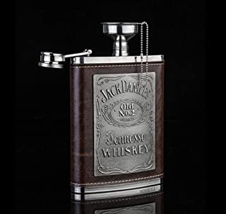 Stainless Steel Silver Hip Flask Flagon Brown Leather Wrapped Premium U Shape with Funnel Gift Box Delicate Elegant 8 OZ L...