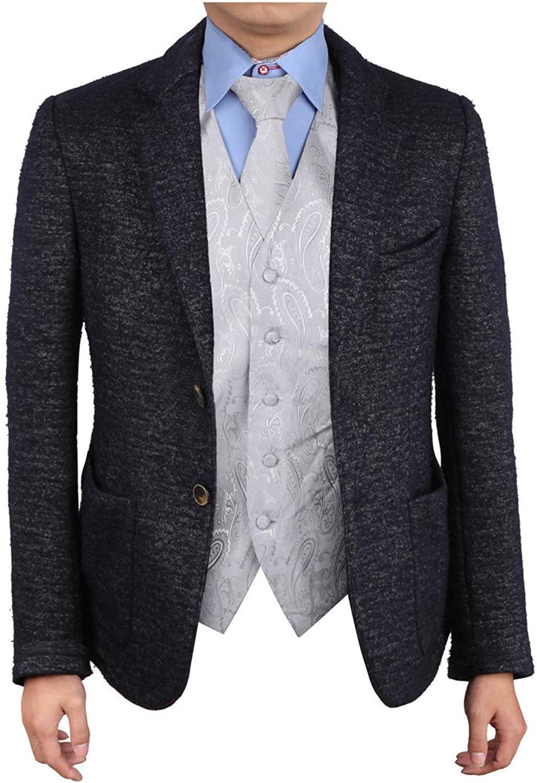 Epoint EGD1B03AS Silver Paisley Microfiber Mens Tuxedo Vest Neck Tie Set Inspirational For Birthday